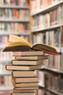 picture of book stack in a library