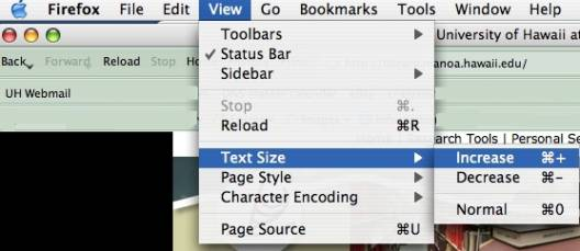 changing text size in MAC Firefox